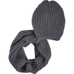 Komplet 2-częściowy: czapka beanie + szalik koło bonprix ciemnoszary. Szare czapki zimowe damskie marki bonprix. Za 69,99 zł.