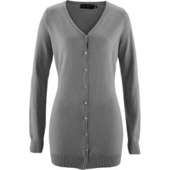 Długi sweter rozpinany bonprix szary melanż. Szare kardigany damskie marki bonprix, melanż. Za 74,99 zł.