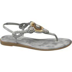 Sandały damskie Graceland popielate. Białe sandały trekkingowe damskie marki Graceland, w kolorowe wzory, z materiału, na obcasie. Za 99,90 zł.