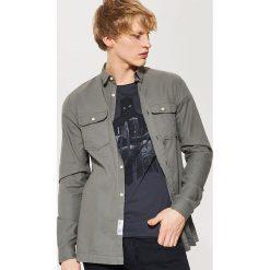 Odzież męska: Gładka koszula utility – Zielony