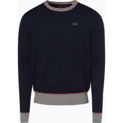 La Martina - Sweter męski, niebieski. Niebieskie swetry klasyczne męskie La Martina, l, z haftami, prążkowane, z kontrastowym kołnierzykiem. Za 599,95 zł.