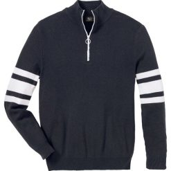 Sweter ze stójką z zamkiem Regular Fit bonprix ciemnoniebieski. Niebieskie golfy męskie marki bonprix, l, w paski. Za 79,99 zł.