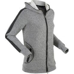 Bluzy rozpinane damskie: Bluza rozpinana z elementami w optyce sztucznej skóry, długi rękaw bonprix czarny melanż