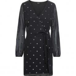 Sukienka wieczorowa bonprix czarny. Czarne sukienki balowe marki bonprix, w grochy, z dekoltem w serek. Za 99,99 zł.