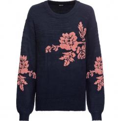 Sweter z haftem bonprix ciemnoniebieski. Niebieskie swetry klasyczne damskie bonprix. Za 99,99 zł.