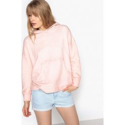 Bluza z kapturem, oversize, efekt dekatyzacji. Szare bluzy damskie marki La Redoute Collections, m, z bawełny, z kapturem. Za 102,86 zł.