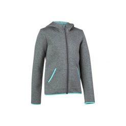 Bluza na suwak. Szare bluzy dziewczęce rozpinane marki DOMYOS, z elastanu, z kapturem. W wyprzedaży za 49,99 zł.