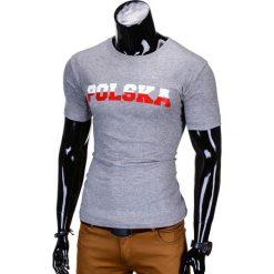 T-SHIRT MĘSKI Z NADRUKIEM S812 - SZARY. Szare t-shirty męskie z nadrukiem Ombre Clothing, m. Za 29,00 zł.