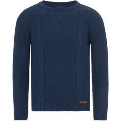 Sweter w kolorze granatowym. Niebieskie swetry klasyczne męskie Jimmy Sanders, m, ze splotem, z okrągłym kołnierzem. W wyprzedaży za 99,95 zł.