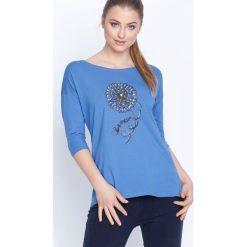 Niebieska Bluzka Margaret's Choice. Niebieskie bluzki asymetryczne Born2be, l, z aplikacjami, z długim rękawem. Za 39,99 zł.