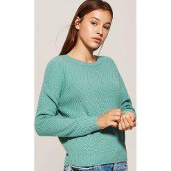 Sweter o ryżowym splocie - Turkusowy. Niebieskie swetry klasyczne damskie marki bonprix, na lato, z bawełny, z okrągłym kołnierzem. Za 69,99 zł.