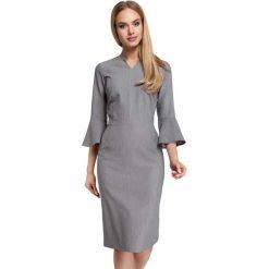 Szara Sukienka Ołówkowa Midi z Hiszpańskim Rękawkiem. Czarne sukienki koktajlowe marki bonprix, do pracy, w paski, moda ciążowa. Za 135,90 zł.