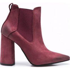Carinii - Botki. Brązowe buty zimowe damskie marki Carinii, z materiału, na obcasie. W wyprzedaży za 219,90 zł.