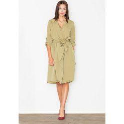 Sukienki: Szlafrokowa Zielona Sukienka z Podpinanym Rękawem