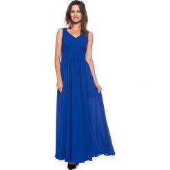 Szafirowa sukienka maxi BIALCON. Niebieskie długie sukienki BIALCON, na imprezę, wizytowe. W wyprzedaży za 245,00 zł.