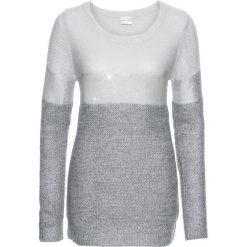 Sweter z metalicznym nadrukiem bonprix ciemnoszaro-jasnoszaro-srebrny. Szare swetry klasyczne damskie bonprix. Za 99,99 zł.