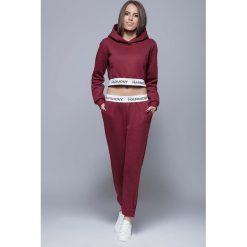 Spodnie sportowe damskie: Bordowe Sportowe Dresowe Spodnie na Gumie