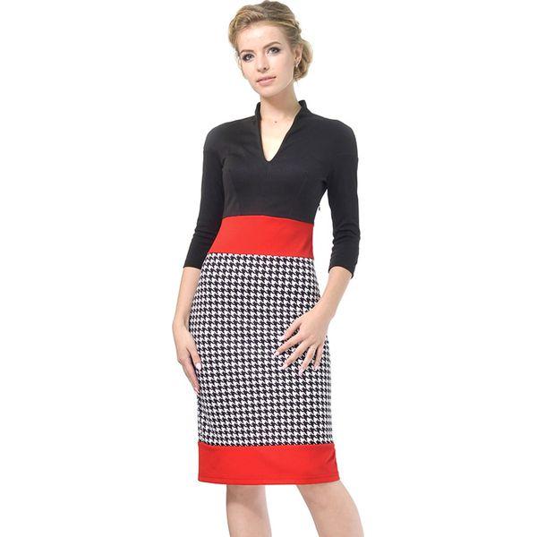 b60f9673d1 Sukienka w kolorze czarno-czerwono-białym - Białe sukienki damskie ...