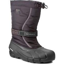 Śniegowce SOREL - Youth Flurry NY1885 Black/City Grey 016. Czarne buty zimowe chłopięce Sorel, z gumy. W wyprzedaży za 189,00 zł.