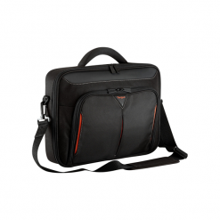 Targus Classic+  Clamshell Case 18'' czarno-czerwona. Czarne torby na laptopa Targus, w paski, z neoprenu. Za 159,00 zł.