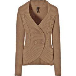 Sweter rozpinany bonprix wielbłądzia wełna. Brązowe kardigany damskie marki More & More, z poliesteru. Za 99,99 zł.
