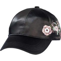 Czapki damskie: Czapka z daszkiem i kwiatowym haftem bonprix czarny