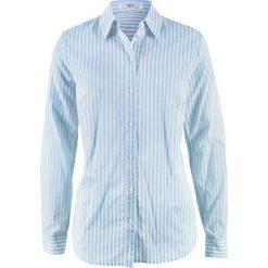 Bluzka z długim rękawem bonprix biel wełny - pudrowy niebieski w paski. Niebieskie bluzki asymetryczne bonprix, w paski, z wełny, z długim rękawem. Za 37,99 zł.