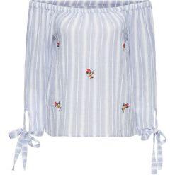 Bluzki damskie: Bluzka carmen z haftem bonprix biało-jasnoniebieski w paski