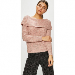Only - Sweter. Różowe swetry klasyczne damskie ONLY, l, z dzianiny, z dekoltem typu hiszpanka. Za 129,90 zł.