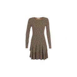 Sukienki krótkie MICHAEL Michael Kors  LEO CREW NK FLNC DRS. Czarne sukienki mini marki MICHAEL Michael Kors, l, z krótkim rękawem. Za 1099,00 zł.
